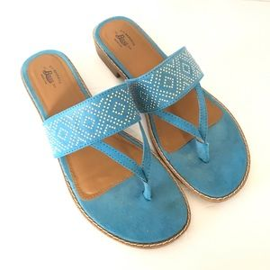 GH Bass & Co Turquoise Embellished Sandals 9.5